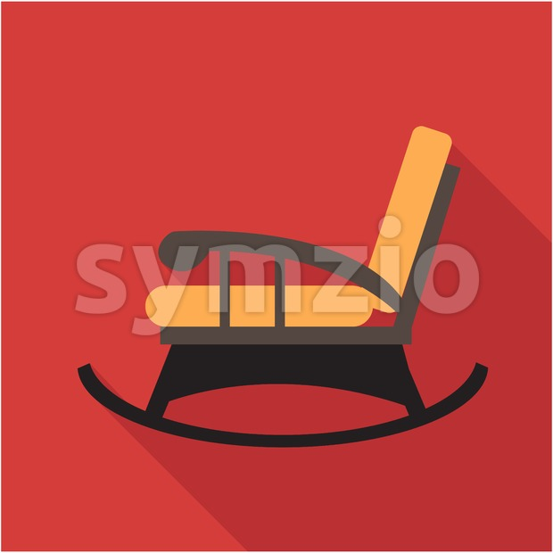 Digital vector orange and black vintage rocking chair over red background isolated, flat style Stock Vector