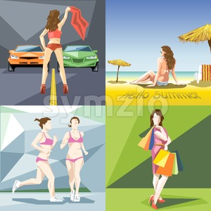 Digital vector girl and woman at the beach, jogging, shopping and racing icon set, flat style Stock Vector