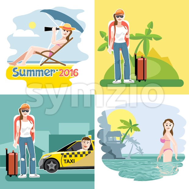 Digital vector touristic summer vacation destination set, girl at the beach, taxi, flat style. Stock Vector