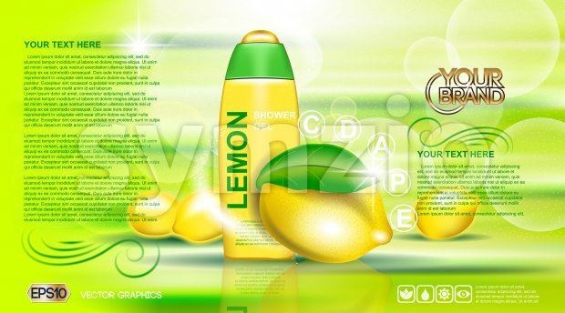 Digital vector yellow and green shower gel cosmetic container mockup, your brand, ready for print ads or magazine design. Lemon fruits and soap Stock Vector