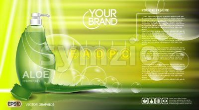 Digital vector green shower gel cosmetic container mockup, your brand, ready for print ads or magazine design. Aloe vera and soap bubbles. Stock Vector