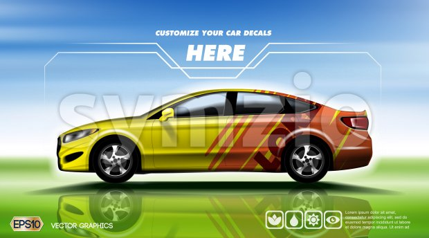Digital vector yellow and red 4 seats sedan sport car mockup, ready for print or magazine design. Your brand, customize your decals. Blue and green Stock Vector