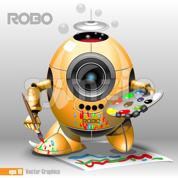 3d orange robo eyeborg painting with a pencil on a paper, holding in hand. Big blue and black eye and antenna, two feet. Digital vector image. Stock Vector
