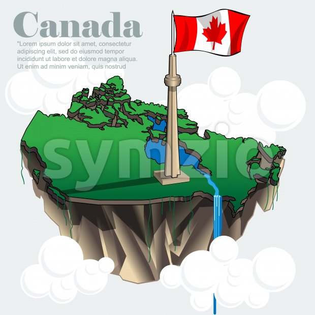 Canada country infographic map in 3d with country shape flying in the sky with clouds with the big flag and lakes. Digital vector image Stock Vector