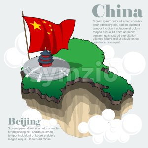 China country infographic map in 3d with country shape flying in the sky with clouds,  the big flag and traditional house. Digital vector image. Stock Vector