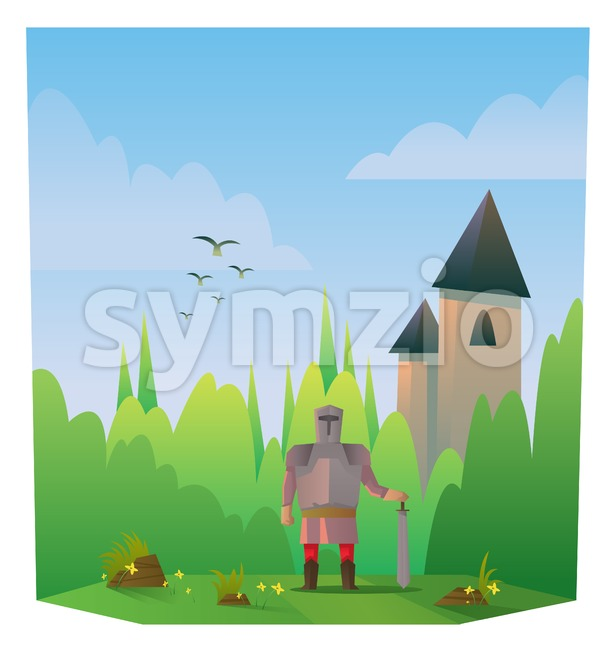 Digital vector abstract cartoony warrior fighter with metal armor and sword, castle, over blue background with clouds, flat triangle style Stock Vector