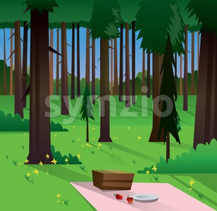 Digital vector abstract background with a green forest, big brown trees, yellow flowers, plate and food, flat triangle style Stock Vector