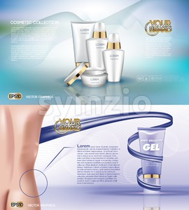 Digital vector white matte surface skin care cream cosmetic container mockup collection, your brand, ready for print ads or magazine design. Golden Stock Vector