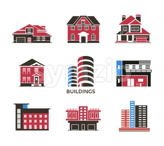 Digital vector black red city buildings icons with drawn simple line art info graphic, presentation with bank, shop and business centre elements Stock Vector