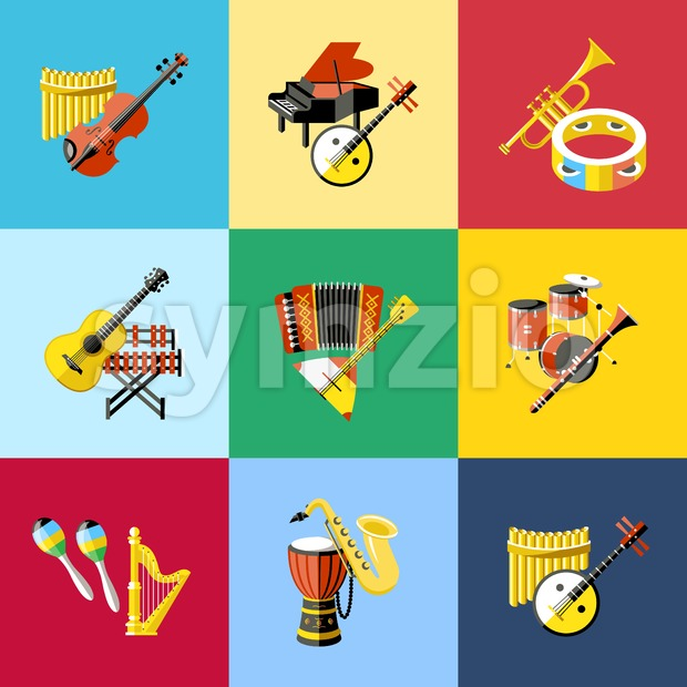 Digital vector blue red music instruments icons with drawn simple line art info graphic, presentation with guitar, piano, drums and sound elements Stock Vector