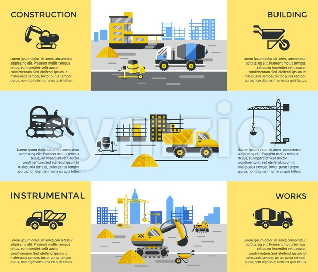 Digital vector blue yellow construction building tracks icons with drawn simple line art info graphic, presentation with crane, road, grout, excavator Stock Vector