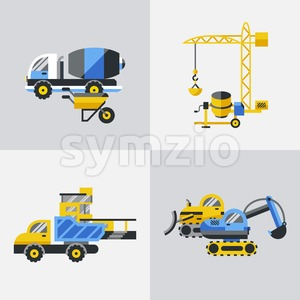 Digital vector yellow construction building tracks icons with drawn simple line art info graphic, presentation with crane, road, grout, excavator and Stock Vector
