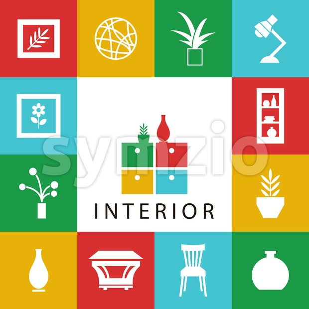 Digital vector yellow furniture icons with drawn simple line art info graphic, presentation with vase, flower, wardrobe, lamp and interior elements Stock Vector