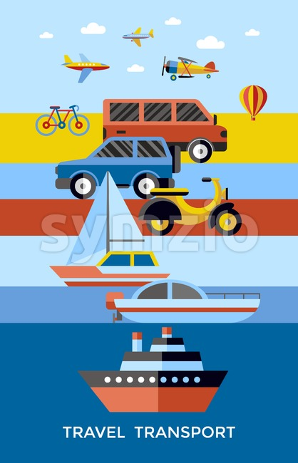 Digital vector red yellow blue travel transport icons set with drawn simple line art info graphic, presentation with car, plane and vehicle elements Stock Vector