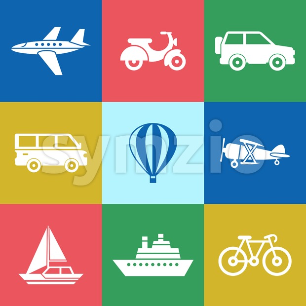 Digital vector red green blue travel transport icons set with drawn simple line art info graphic, presentation with car, plane and vehicle elements Stock Vector