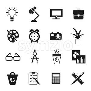 Digital vector black work space icons set with drawn simple line art info graphic, presentation with clock, calculator and office supplies elements Stock Vector