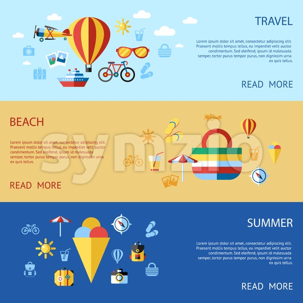 Digital vector blue red beach travel icons set with drawn simple line art info graphic, presentation with sun, ice cream and sea vacation elements Stock Vector
