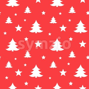 Digital vector red happy new year merry christmas icons with drawn simple line art info graphic, seamless pattern, presentation with tree and stars Stock Vector