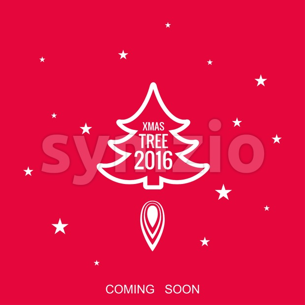 Digital vector red happy new year merry christmas icon with drawn simple line art, fir tree with fire spark and stars promo template, flat style Stock Vector