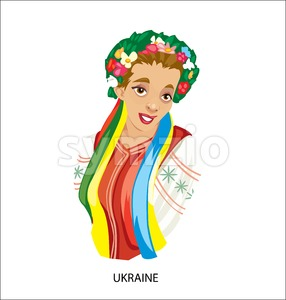 Digital vector funny cartoon smiling ukraine woman in national dress, flowers in hair, abstract flat style Stock Vector