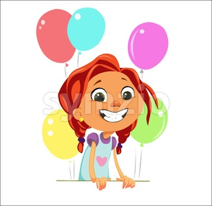 Digital vector funny cartoon happy cute young kid girl with big head and red hair, multicolor balloons, abstract flat style Stock Vector