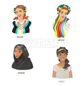 Digital vector funny cartoon arabian muslim, greece, ukraine and poland women set, abstract flat style Stock Vector