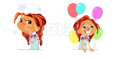 Digital vector funny cartoon happy and sad cute young kid girl with big head and red hair, multicolor balloons, abstract flat style Stock Vector