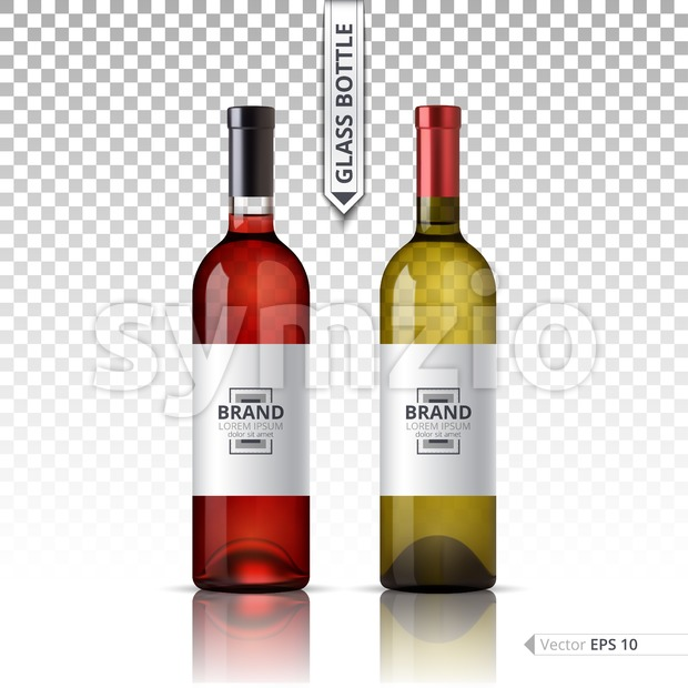 White and red wine bottles isolated on transparent background. Vector 3d detailed mock up set illustrations Stock Vector