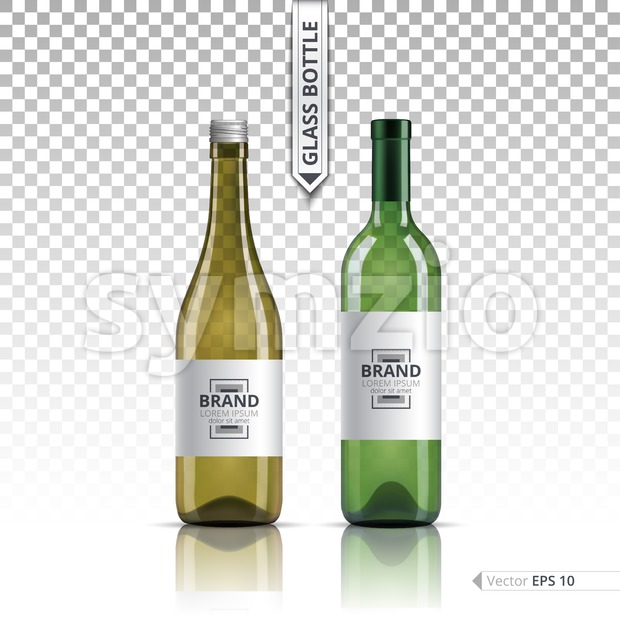 White wine and brandy or liquor bottles isolated on transparent background. Vector 3d detailed mock up set illustrations Stock Vector