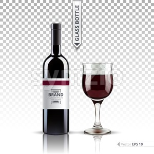 Glass of wine and bottle isolated on transparent background. Vector 3d realistic set illustration Stock Vector