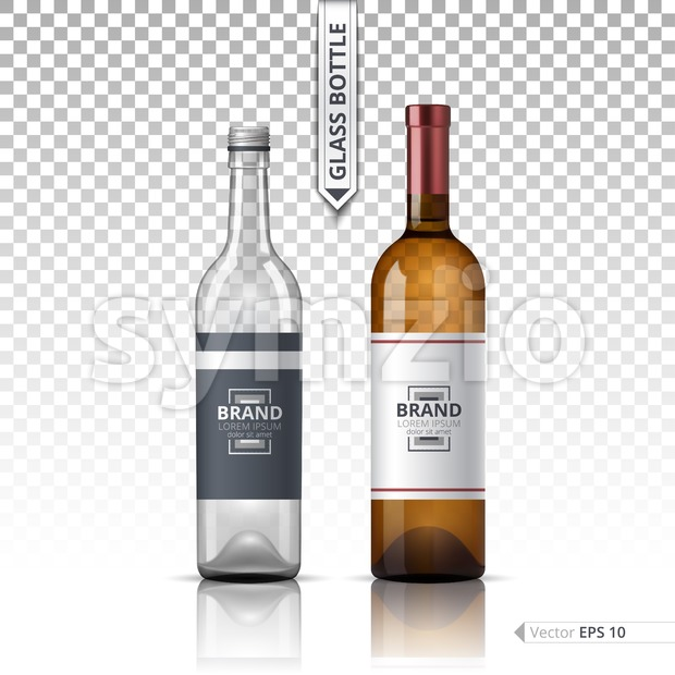 Wine and Vodka bottles isolated on transparent background. Vector 3d detailed mock up set illustrations Stock Vector