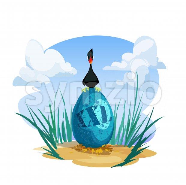 Digital vector funny comic cartoon black goose duck bird sitting on nesting a huge xxl blue egg, sand and green grass, hand drawn illustration, Stock Vector