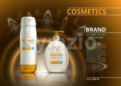 Sun protection cosmetic product design. Cosmetic bottle on a blur sparkling background. Template for ads or magazine. 3d illustrations Stock Vector