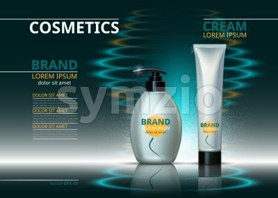 Cosmetic package ads template. Skin care gel, body cream or handcream bottles. Mockup 3D Realistic illustration. Sparkling water drops backgrounds Stock Vector