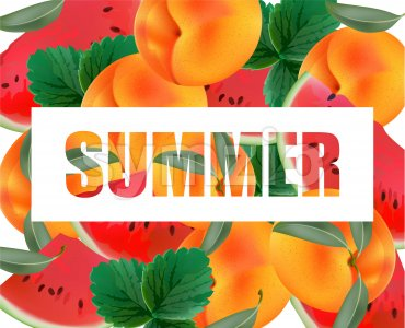 Summer appricot and watermelon background pattern Vector illustration Stock Vector