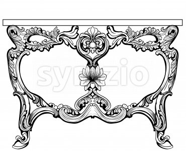 Baroque console table engraved. Vector French Luxury rich intricate ornamented structure. Victorian Royal Style decors Stock Vector