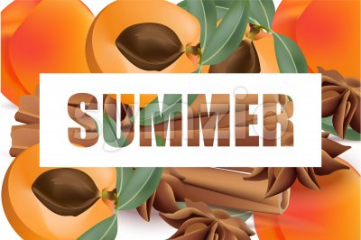 Summer appricot and cinnamon background pattern Vector illustrations Stock Vector