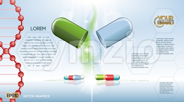 Digital vector green and blue medicine pill Stock Vector
