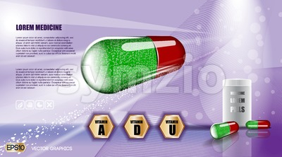 Digital vector green and red medicine vitamin pill Stock Vector