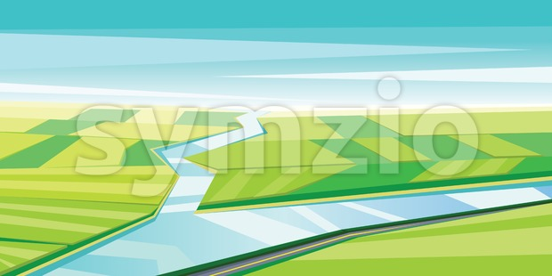 Digital vector abstract background with river Stock Vector