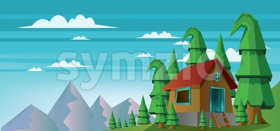 Abstract landscape with a house in the forest and mountains with white clouds Stock Vector