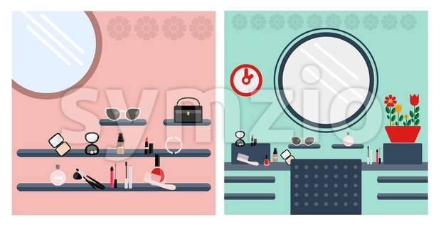 Digital vector image, woman make up room Stock Vector