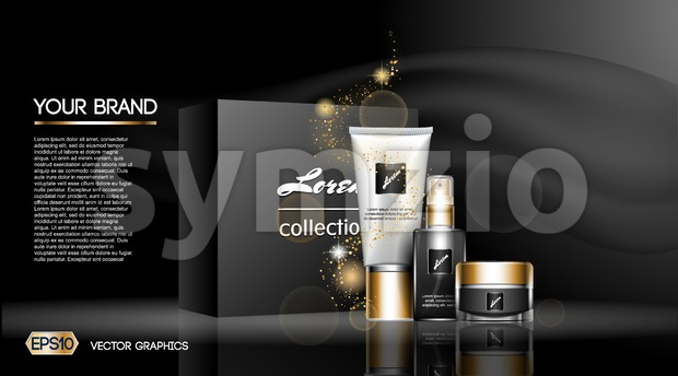 Digital vector white matte skin care cream and lotion cosmetic container set mockup collection, your brand package, ready for print ads or magazine Stock Vector