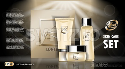 Digital vector yellow skin care cream and lotion cosmetic container set mockup collection, your brand package, ready for print ads or magazine design. Stock Vector