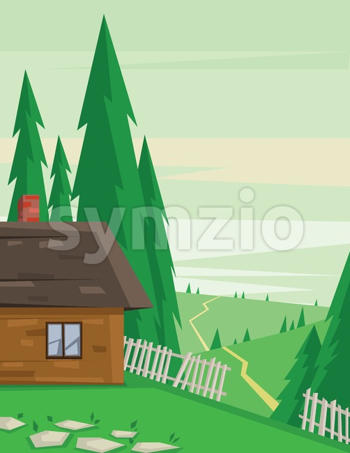 Digital vector abstract background with a house in the forest with fence and road, pine trees, flat triangle style Stock Vector
