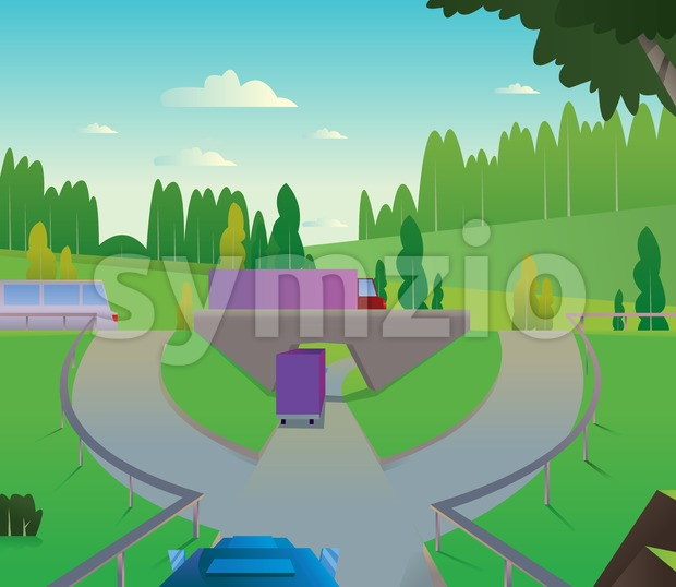 Digital vector abstract background with a car road to city with bridge and roundabout, green hills, big tree, blue sky and clouds, trucks and buses, Stock Vector