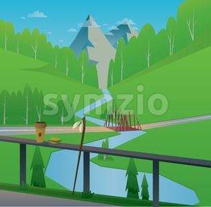 Digital vector abstract background with a bridge and river, coffee and food, rod, mountains and green heels with forest, blue sky and clouds, flat Stock Vector