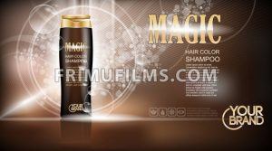 Digital vector brown magic shampoo mockup on light background, with your brand, ready for design. Liquid and bubbles, realistic style - frimufilms.com