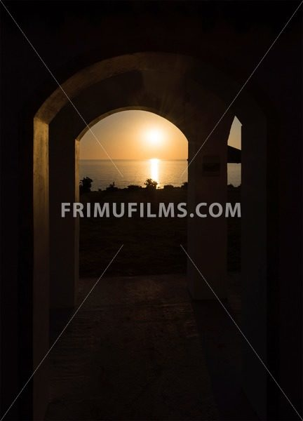 Sunrise with reflection of light in the water, in protaras paralimni - frimufilms.com