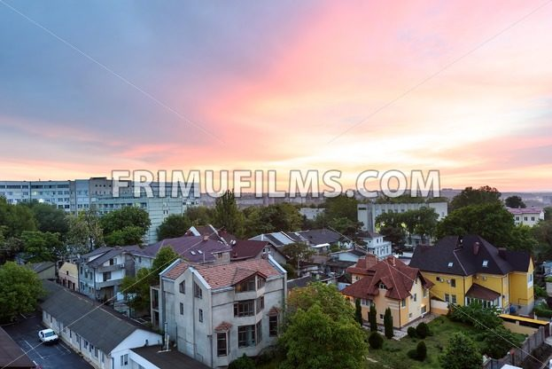 View on emergency hospital and buiucani district at sunset with beautiful purple sky - frimufilms.com
